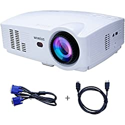 Proyector, Proyectores Full HD LED 3200 Lúmenes 1080P Video Proyector LCD WiMiUS T4 Home Cinema Alta Resolución 1280*800 Altavoz Incorporado con HDMI VGA USB AV SD -Blanco
