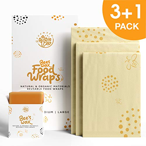 Greenzla wiederverwendbar bienenwachstuch wachstücher für Lebensmittel (3er Pack) mit Bonus Bienenwachs Nachfüllbar - Bio Baumwollwickel- Set mit 1 kleinen, 1 mittleren und 1 großen Beeswax Wrap
