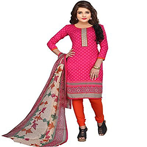 Z HOT FASHION Women Printed unstitched Salwar Suit\dress Material In Poly Cotton Fabric (Suits ZHTTP1010) Pink  available at amazon for Rs.199