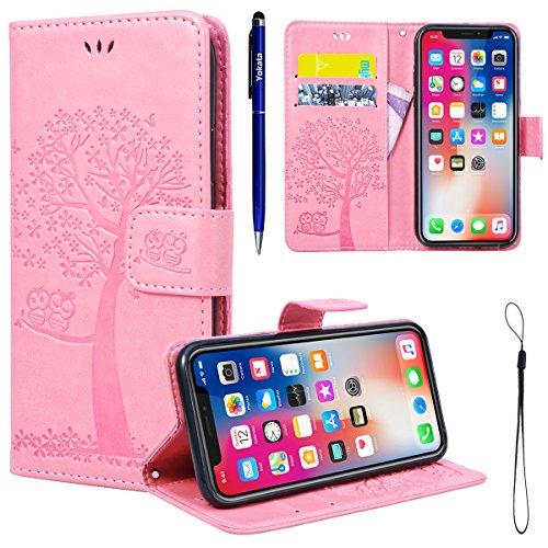 Yokata iPhone 7 Plus Hülle Leder Premium Handyhülle Handy Ledertasche Schutzhülle Flip Case Wallet Tasche Handytasche Weiche Silikon Backcover Innere mit Kartenfach Standfunction und Magnetverschluss  Rosa Pink