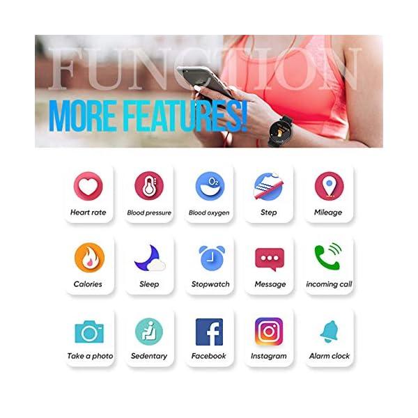 Minoni Smartwatch, Fitness Pulsera Reloj Completo Touch Screen Fitness Reloj IP68 estanco Fitness Tracker Sportuhr con podómetro Pulsuhren cronómetro para señoras señores Smart Watch (Rojo) 6