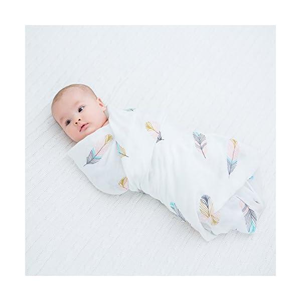 Lebze Muselina Manta Bebé -«Diente de Plumas» Bambú Algodón Bebé Chica o Baby Boy Mantas 120×120 cm Swaddle