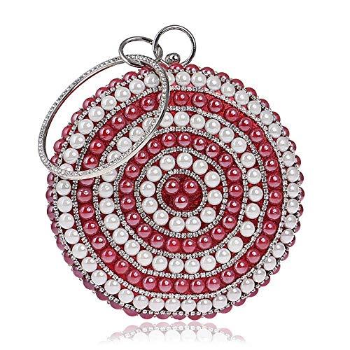 XiaoZou Damen Abendkleid Designer Abendtaschen Damen Party Handtaschen Geschenke Abendtaschen Blumen Bunte Pailletten Perlen Perlen (Color : Red) (Designer Abendkleider)