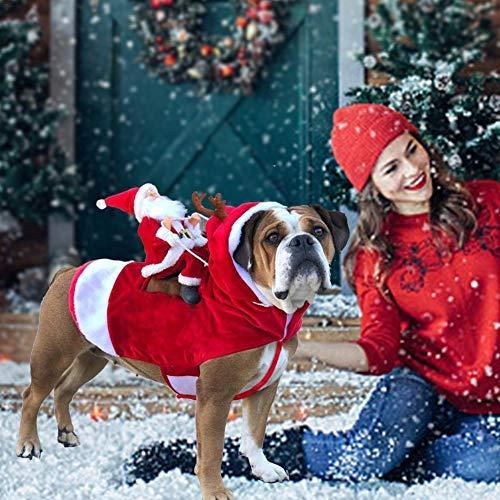 Chengstore Weihnachtsmann-Hundekostüm Weihnachten, Weihnachtsmann-Reithirsch-Hunde Kleiden Oben Weihnachtskostüm, Für Hund Haustierbekleidung Chihuahua Yorkshire Pudel