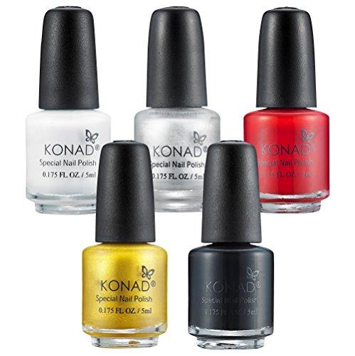 KONAD Small Nail Stampinglack 5er-Set weiss, schwarz, silber, gold und rot - Vorteilspack [5x 5ml]