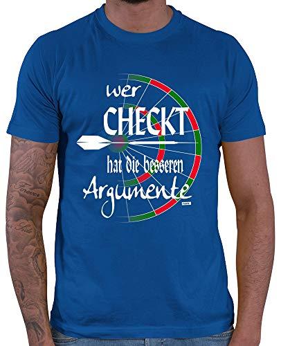 HARIZ  Herren T-Shirt Wer Checkt Hat Die Besseren Argumente Dart Sprüche Dartscheibe WM Plus Geschenkkarten Royal Blau XL