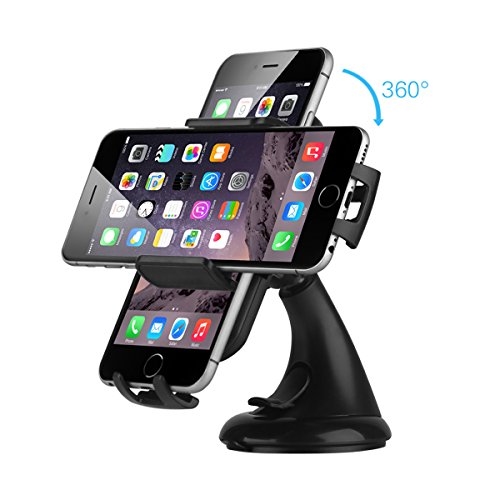 EC Technology Universal KFZ Halterung, 360-Grad-Drehung, mit starken Saugnapf für iPhone 6/6S/Samsung Galaxy S6 und andere Handy schwarz