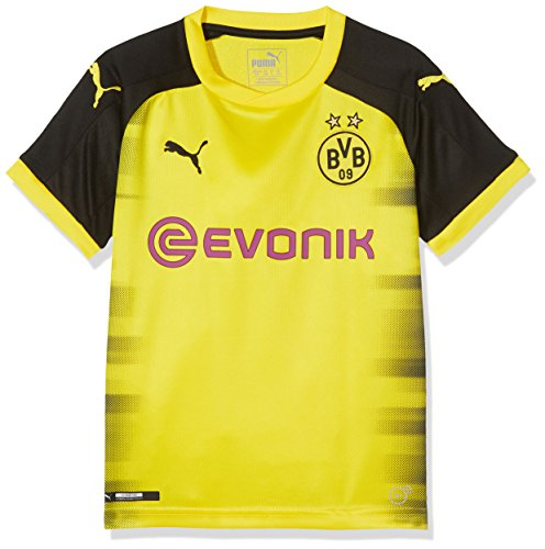 PUMA Jungen Bvb Kids Int'l Replica Shirt with Sponsor Logo T-Shirt, Cyber Yellow-Puma Black, 164