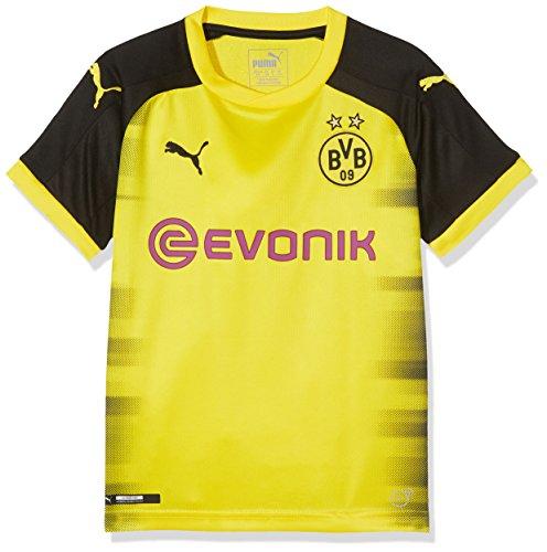Puma Jungen BVB Kids Int'l Replica Shirt with Sponsor Logo T-Shirt, Cyber Yellow Black, 140