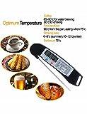 FleischThermometer zum Grillen - bratenthermometer digital Edelstahl lang empfindliche Sonde mit sofortiger Lese/LCD-Bildschirm für Küche Kochen, BBQ, Öl und Wasser (Batterie nicht inbegriffen)