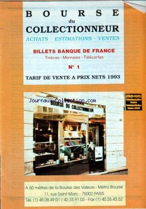BOURSE DU COLLECTIONNEUR [No 1] du 01/01/1993