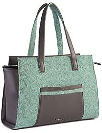 Veuza Berlin Premium Jacquard And Faux Leather Sea Green Handbag