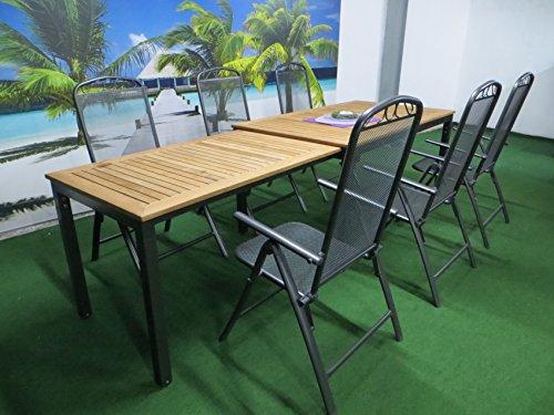 7-teilige Luxus Aluminium Teak Streckmetall Gartenmöbelgruppe 'Bukatchi RRR' , Klappsessel und Ausziehtisch Tifosi 160/280x90 anthrazit, P15