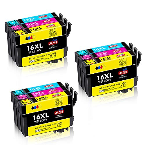 JIMIGO 16 XL 16XL Cartucce Sostituzione per Epson 16 Cartucce Compatibile con Epson Workforce WF-2630 WF-2510 WF-2760 WF-2530 WF-2750 WF-2660 WF-2520 WF-2650 WF-2540 WF-2010 WF2630 WF2510 WF2760
