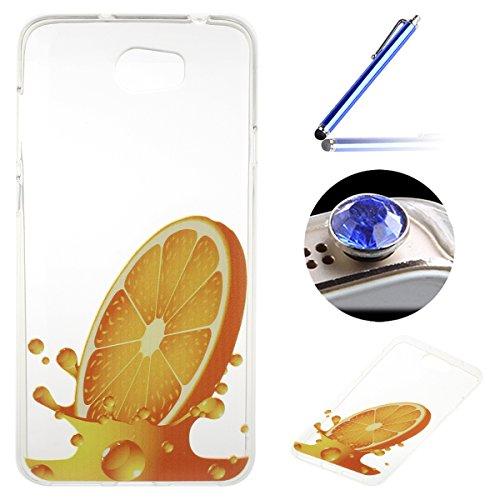 Huawei Y5 II / Y5 2 Coque, Etsue pour Huawei Y5 II / Y5 2 Vogue Gel Housse étui de téléphone mobile ,TPU Silicone Matériau Transparente Ultra Mince Supérieur Semi Transparent Doux Coque [Citron] Motif pour Huawei Y5 II / Y5 2 + Gratuit 1 x Bleu stylet + 1 x Bling poussière plug (couleurs aléatoires)