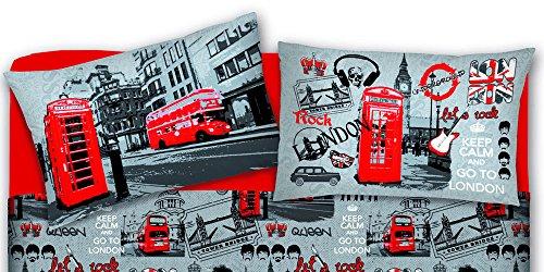 Coppia Federe In 100% Cotone, Con Bottoni Laterali, 50x80cm, Made In Italy, Disegno Londra
