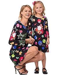 NSSZ Falda de Madre e Hija Falda de Navidad Bola de Nieve de Hielo Vestido Estampado
