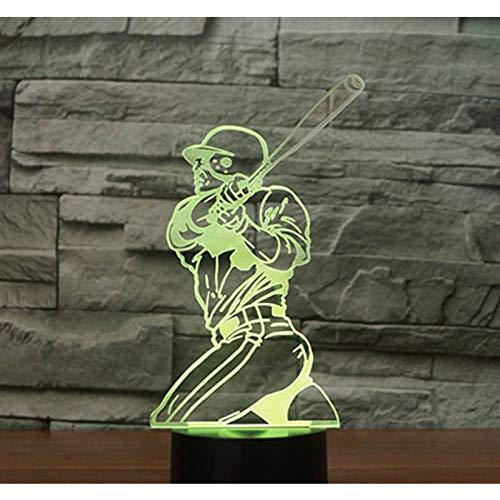 YDBDB Nachtlicht 3D führte Spiel-Baseball mit dem 7 Farben-Licht für Hauptdekorations-Lampen-erstaunliche Sichtbarmachungs-optische Täuschung ehrfürchtig -