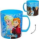 alles-meine GmbH Trinkbecher / Henkeltasse -  Disney die Eiskönigin - Frozen  - inkl. Name - 320 ml - aus Kunststoff Plastik - Trinklerntasse / Trinklernbecher - mit Henkel ..