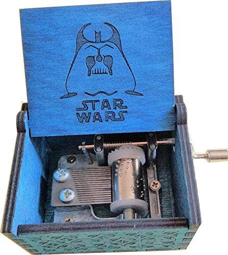 Funmo Reine Hand-klassischen Star Wars Musik-Box Hand-hölzerne Spieluhr kreative Holz Handwerk (Star Wars Magisches Blau) (Wars Tee Star)