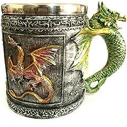 Golden Mango dragón Creative taza retro oficina taza de acero inoxidable y resina volumen 350 ml peso 0.45 kg tamaño de 10,5 * 8.5 * 13,5 cm paquete de un