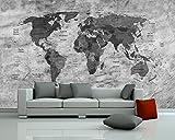 Vlies Fototapete - Weltkarte Retro II sw - schwarz Weiss - 310x200 cm - mit Kleister - Foto auf Tapeten - Wandtapete – Vliestapete – Wanddeko