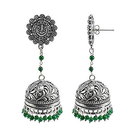 Silvestoo India Emerald Green Quartz Ganesha Studs Jhumka-Indian Jewellery-Traditional Earrings PG-107803