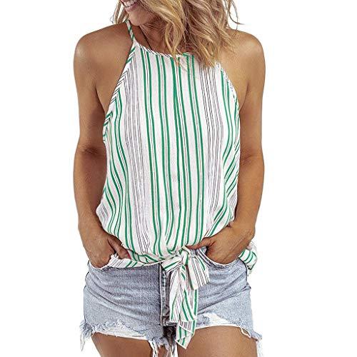 Produp Damen Ärmellose Neckholder-Bluse mit gestreiftem Print und Camisole Sexy Party, Strand Geschenk T-Shirts