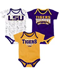 "LSU Tigers NCAA ""Playmaker"" Infant 3 Pack Bodysuit Creeper Set"