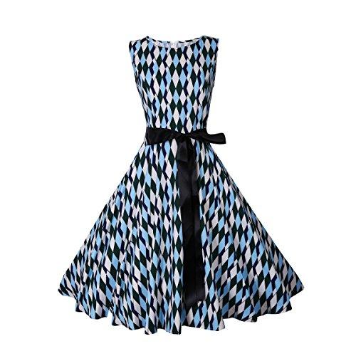 Yesmile Vintage Kleid mit Gürtel Abschlussball Kleid Frauen -