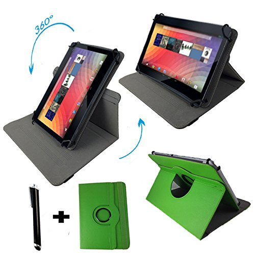 360 Grad drehbar Tasche für Trekstor surftab Breeze 10.1 Quad Tablet PC Hülle mit Standfunktion - 10 Zoll Grün 360°