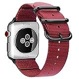 Fintie Armband für Apple Watch Series 4/3 / 2/1 - Premium Nylon atmungsaktive 44mm / 42mm Sport Uhrenarmband verstellbares Ersatzband mit Edelstahlschnallen, Rot