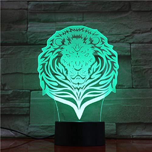 BFMBCHDJ Touch/Fernbedienung Lion Nachtlicht LED Vision Stereo Acryl Panel Tischdekoration 7 Farben Ändern Schlafzimmer Lampe