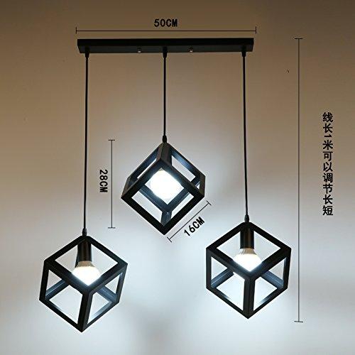 Luckyfree Kreative Modern Fashion Anhänger Leuchten Deckenleuchte Kronleuchter Schlafzimmer Wohnzimmer Küche, Das Schwarze Quadrat 3 Leiter der Tastatur Kombination 3-farbige Licht