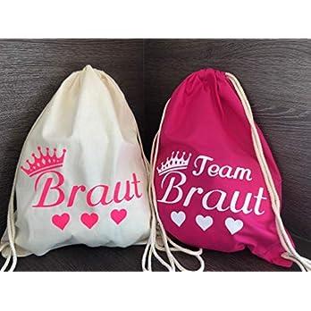 Set aus 10 Turnbeutel JGA Rucksack für Junggesellinnenabschied, 1 Brautbeutel und 9 Beutel für die Mädels, Team Braut neonpink