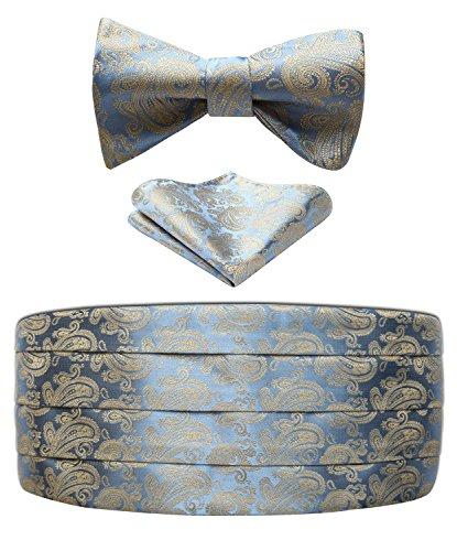 Hisdern Herren Formal Tupfen Seide Kummerbund & Krawatte & Einstecktuch Set Blau/Gold -