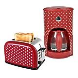 Team-Kalorik-Group Frühstücksset CM 1008 + TO 1045 2-Scheiben-Toaster und 1,8 Liter Kaffeemaschine rot-weiß gepunktet Retro-Muster