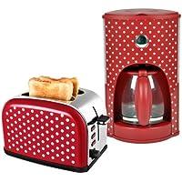 Team-Kalorik-Group Juego de desayuno cm 1008+ to 1045de 2tostadas y 1,8litros Cafetera Eléctrica de lunares, color rojo y blanco retro de costura