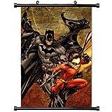 Poster d'art avec Batman et Robin Comic Wall Scroll Poster Peinture sur Tissu 24 x 36 (60 x 90 cm)