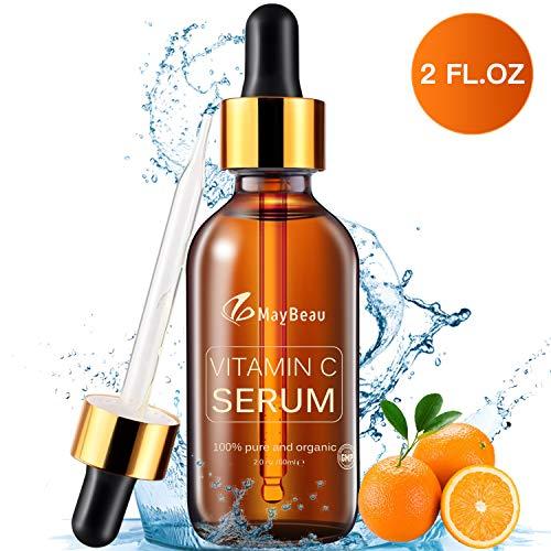 20 Vitamin (MayBeau 60ml Vitamin C Serum mit 20% Vitamin C + Vitamin E + Hyaluronsäure, 100% Rein und Organisch Anti-Aging, Anti Falten und Pickelmale, Feuchtigkeitsserum für Haut, Gesicht, Dekolleté und Körper)