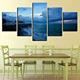 Wall Art Home Decor Frame Canvas Painting Ocean Poster 5 Pieces For Living Room Sailing Ship HD Printed Landscape Pictures