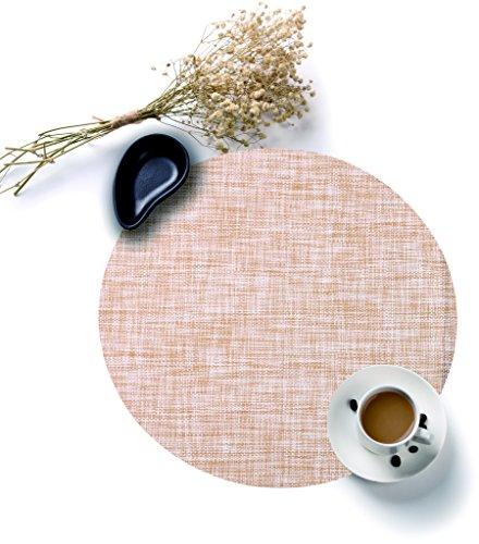 Vinyl Tischsets Glatte (HYSENM 4 Stücke PVC Tischmatte Tischsets Platzsets Platzdeckchen Platzmatten Placemats rund Durchmesser 35cm Beige/Grau/Braun/Orange/Grün/Schwarz/Weiß, Orange)