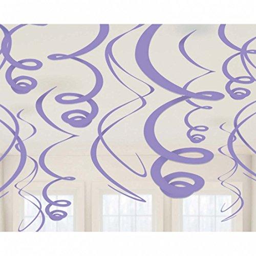 Amakando Dekospiralen 55,8 cm Hängedeko 12 Stück Deko Spiralen Partydeko lila Dekoration Spirale Partyartikel Spiralhänger Mottoparty Motto Party Accessoires Partydekoration Hängedekoration