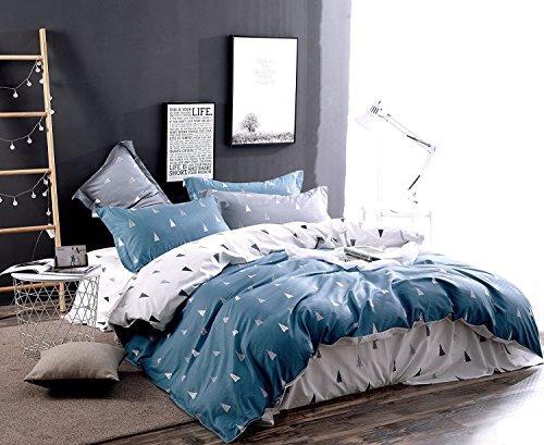 Young17 Bettwäsche-Sets 100% Baumwolle von 4-Stück (1 Bettbezug & 1 flaches Blatt & 2 Kissenbezüge), Bettbezug Schlafzimmer-Sets Easy Care von weichen Stoffen, Silent Forest (Blau), Königin