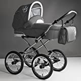 Bebebi Loving | 3 in 1 Kombi Kinderwagen Komplettset | Nostalgie Kinderwagen | Farbe: Grey Ardent