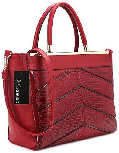 Kukubird Ladies In Pelle Di Design Stile Coccodrillo Texture Dettaglio Grande Tote Bag Shoulder Satchel Handbag Rosso