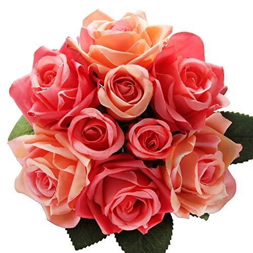 CQURE Unechte Blumen,Künstliche Deko Blumen Gefälschte Blumen Seidenrosen Plastik 9 Köpfe Braut Hochzeitsblumenstrauß für Haus Garten Party Blumenschmuck (Kirsch Rot) - Haus Kirsch