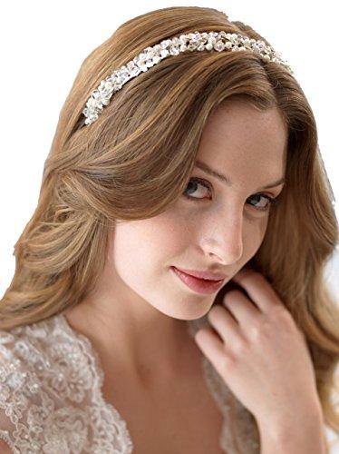 Lia Fashion Vintage Haarschmuck, Band, Hochzeit, Kristall elegant Braut Retrostil Diadem Haarschmuck klar, Perlen, silber