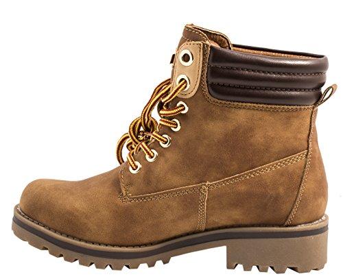 Elara Warm Gefütterte Stiefeletten | Profilsohle Schnürrer | Worker Boots |chunkyrayan Camel