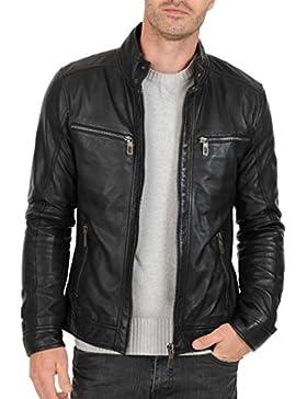 Leather4u Chaqueta de cuero para hombre, piel de vaca, Negro KL763